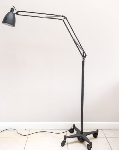 Early Model 1208c Anglepoise trolley floor lamp manufactured by Herbert Terry