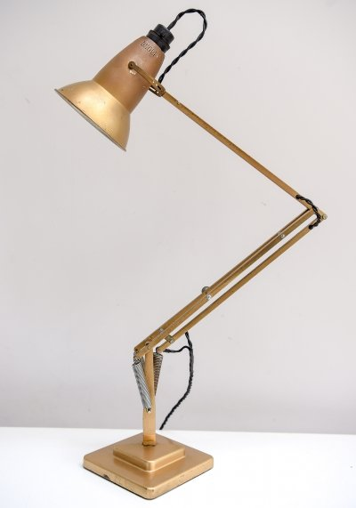 Early 2 tier Anglepoise model 1227 desk lamp In original gold paint