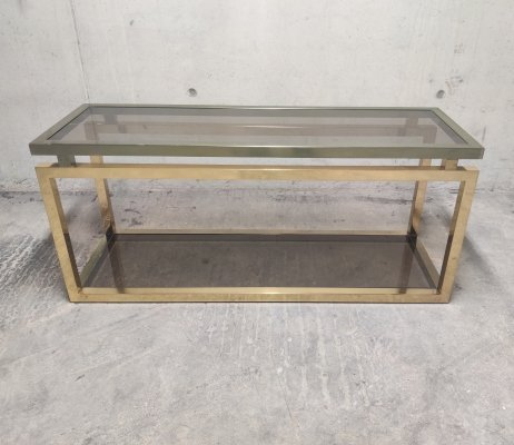 Brass two tier console table with smoked glass, 1970s