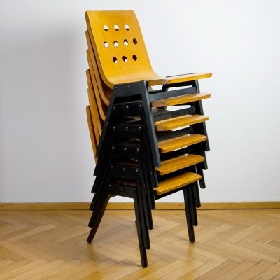 Set of 6 Vienna City Hall Stacking Chairs by Roland Rainer for Emil & Alfred Pollak, 1950s