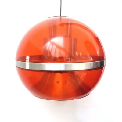 Vintage mid century Space age orange hanging lamp from Dijkstra Lampen, 1960s
