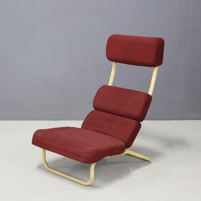 MidCentury Japanese lounge chair in original red fabric, 1950s