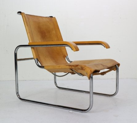 Marcel Breuer B35 Leather Lounge Chair/Armchair for Thonet, Germany 1930s