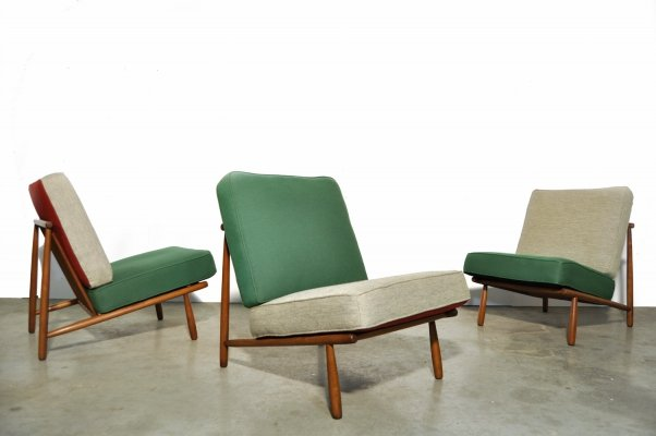 Set of 3 Domus One lounge chairs by Alf Svensson for DUX Sweden, 1950s