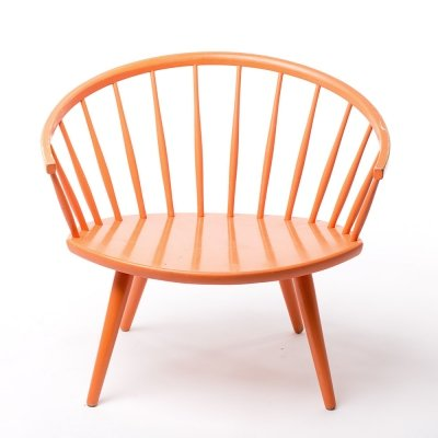 Vintage Yngve Ekstrom 'Arka' chair with original orange paint