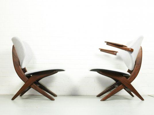 Set of 2 Louis van Teeffelen for Webe 'pelican' easy chairs, 1960s