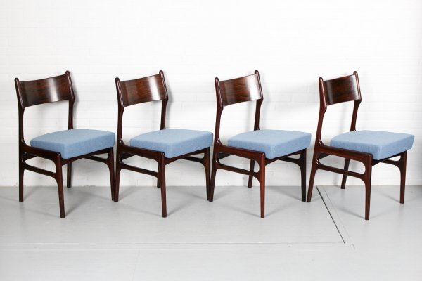 Set of 4 rosewood chairs, 1960s