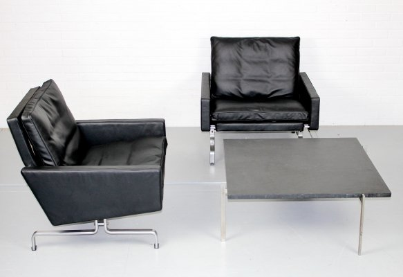 Pair of vintage PK31/1 Lounge Chairs & PK61 Coffee Table by Poul Kjaerholm for E. Kold Christensen