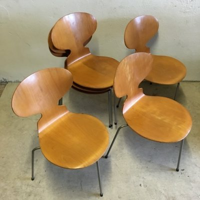 Early three leg version Model 3100 Ant chairs by Arne Jacobsen for Fritz Hansen, 1950s
