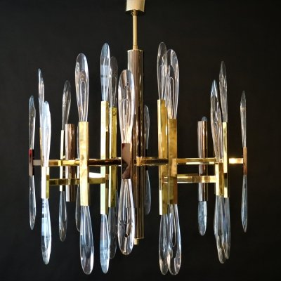 Sciolari Crystal (4 light-arms) Chandelier by Gaetano Sciolari, 1960s