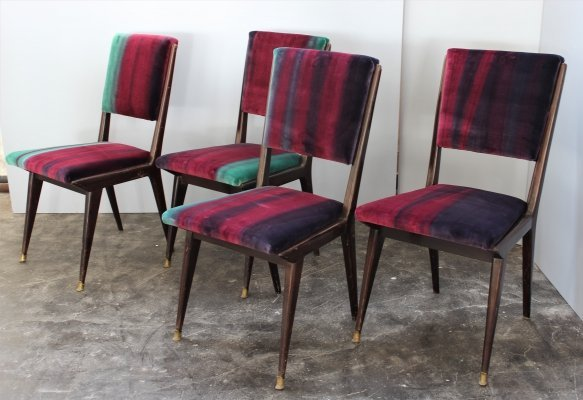 Set of 4 Ico Parisi chairs with brass details, 1950s