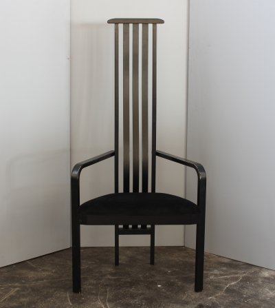 Italian black lacquered high back single chair by Vico Magistretti for Poggi, 1980s