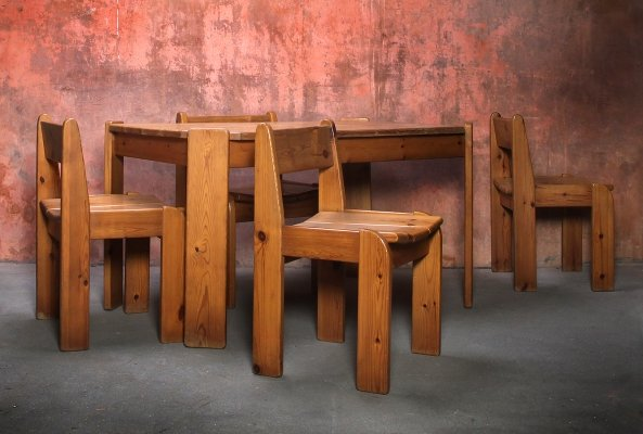 Pine Dining set with 4 Chairs & Table, 1970s