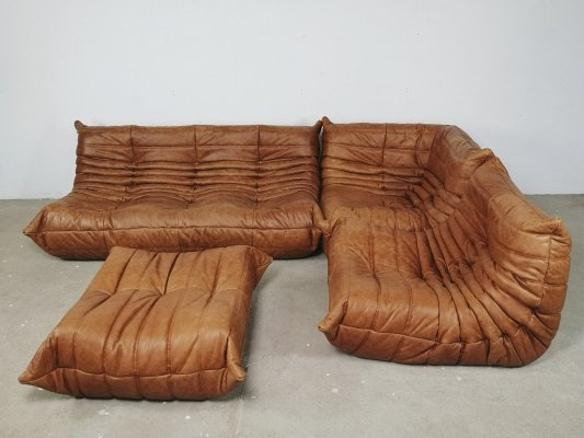 Natural leather Togo sofa by Michel Ducaroy for Ligne Roset, 1960s