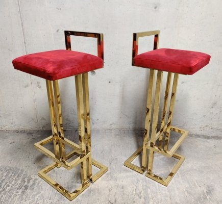 Pair of Maison Jansen bar stools, 1970s