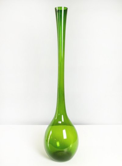 Green Glass Gullaskruf Floor Vase by Arthur Percy for Aseda Sweden, 1950s