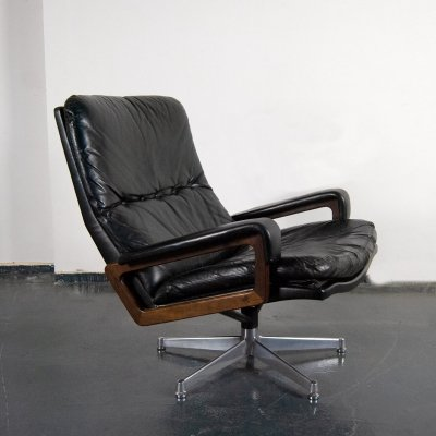 Black Leather King Chair by Andre Vandenbeuck, 1960s
