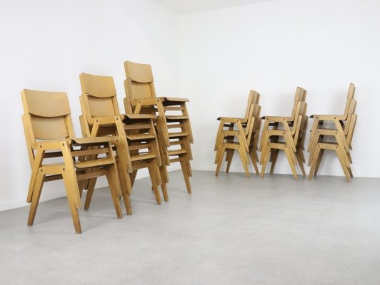 20 plywood stacking chairs, 1960s
