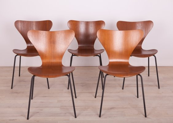 Steel & Teak Model 3197 Dining Chairs by Arne Jacobsen for Fritz Hansen, 1960s