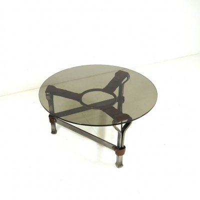 Brutalist table in cast iron & leather, France 1960's