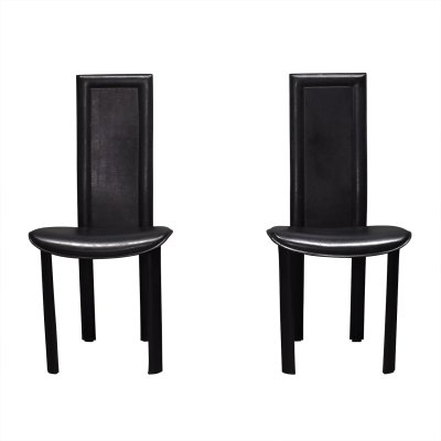 Pair of 'Elena B' black leather dining chairs by Quia, Italy 1970s