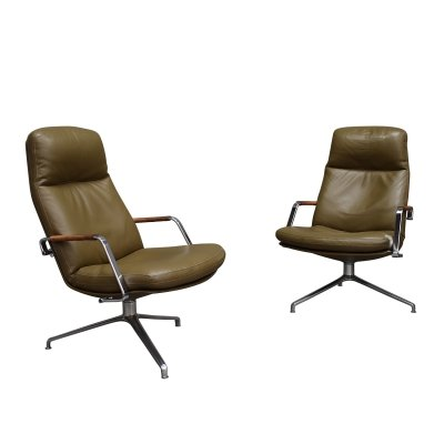 Fabricius & Kastholm FK-86 leather lounge chairs, Denmark 1968