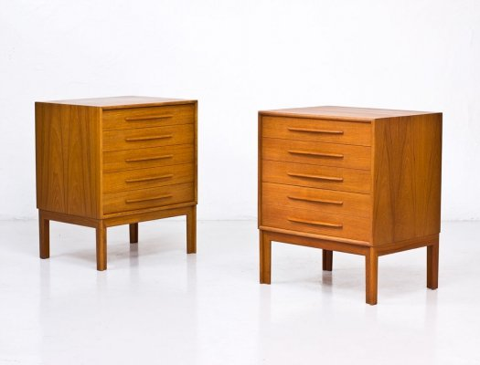 Swedish Teak Chests of Drawers by Alf Svensson for Bjästa, 1960s