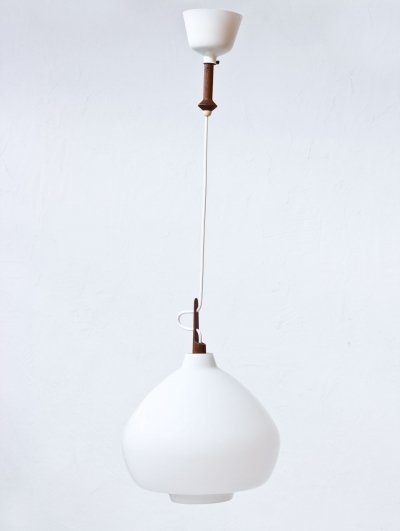 Swedish Opaline Glass Ceiling Lamp by Hans-Agne Jakobsson, 1950s