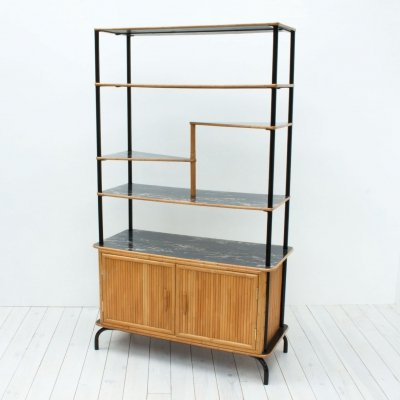 1950s Oriental Bamboo Room Divider with Shelves