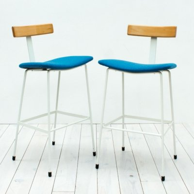 1950s Pair of White & Blue Kandya Program Bar Stools by Frank Guille
