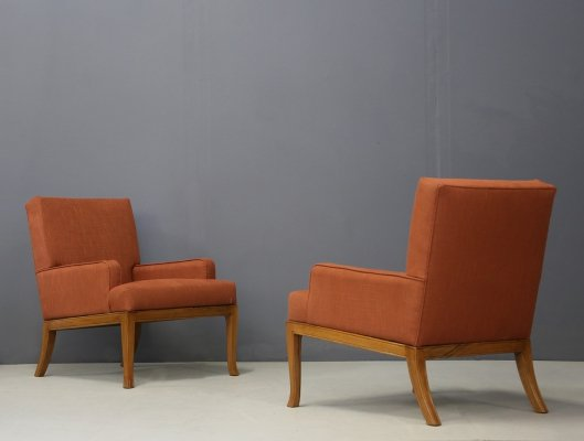 Pair of Robsjohn Gibbings Art Deco Lounge Chairs in orange fabric, 1950s