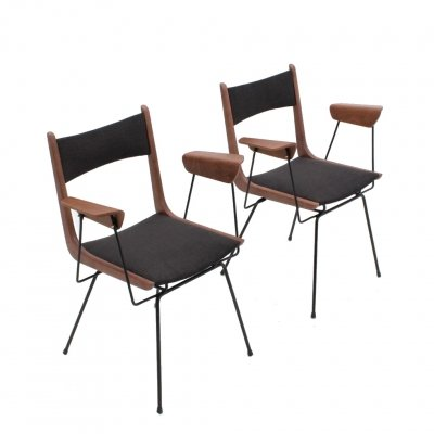 Carlo Ratti chairs with armrests, 1950s