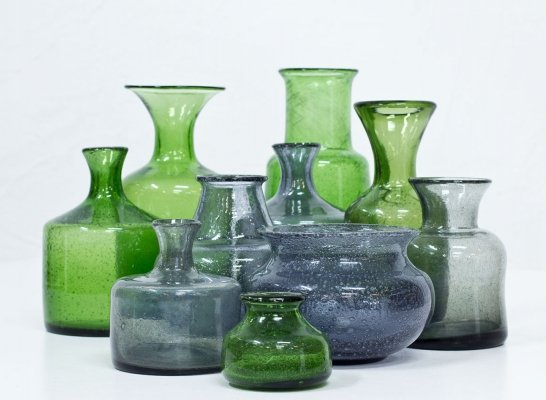 Group of 10 Glass Vases by Erik Höglund for Boda