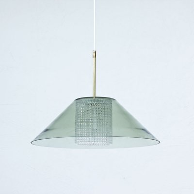 Glass & Brass Pendant Lamp by Carl Fagerlund for Orrefors