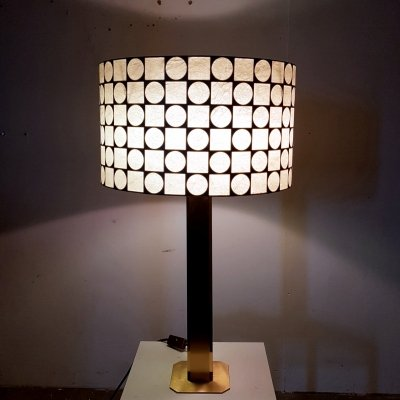 Brass table lamp with geometric shade, 1960s