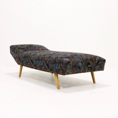 Mid Century Daybed with Floral Upholstery, 1950s