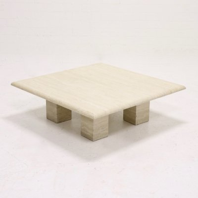Mid Century Italian Modern Travertine Coffee Table, 1970s