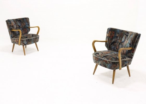 Set of 2 Cocktail Chairs with Floral Upholstery, 1950s