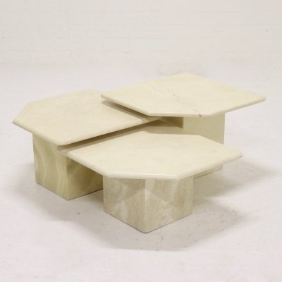 Set of 3 Italian Travertine Side Tables or Landscape Coffee Table, 1970s