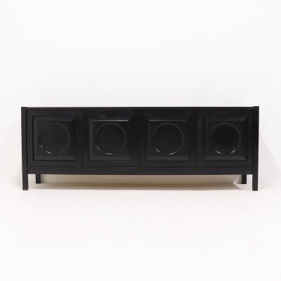 Belgian Brutalist Sideboard in Black Ebonized Oak, 1970s