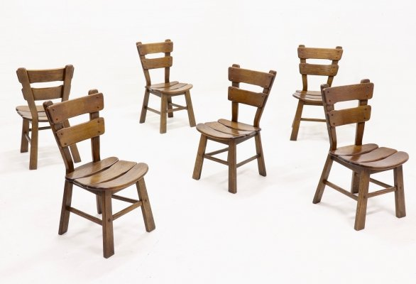 Set of 6 Brutalist Stained Oak Spanish Dining Chairs, 1970s
