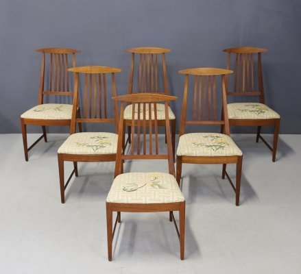 Set of 6 Midcentury Chairs in original fabric, USA 1950s