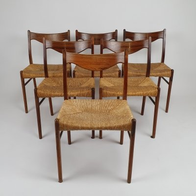 Set of 6 Danish Rosewood GS61 chairs by Arne Wahl Iversen for Glyngøre Stolefabrik