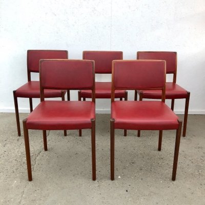 Set of 5 rosewood & leatherette dining chairs, 1960s