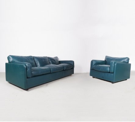 Green Leather Model Socrates 3-Seater Sofa & Armchair from Poltrona Frau, 1980