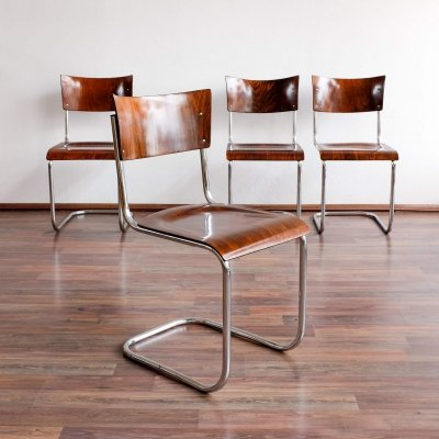Set of 4 S 43 dining chairs by Mart Stam for Thonet, 1930s