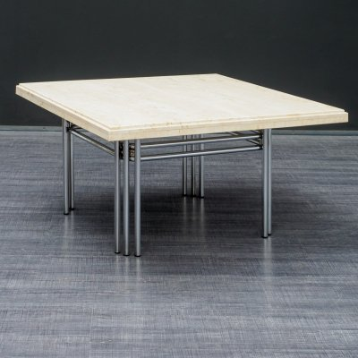 Vintage 1970s Coffee Table With Travertine Top