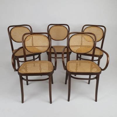 Mid Century ZPM Radomsko bentwood & cane dining chairs, 1960s