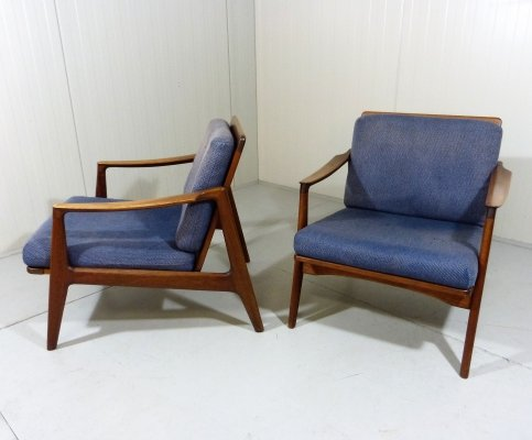 Set of 2 Teak Easy Chairs, Denmark 1960's