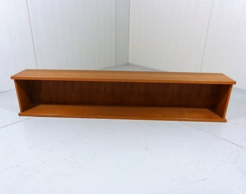 Large double teakwooden book shelf with invisible wall fastening, Denmark